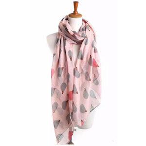 Shawl roze met grijze egels